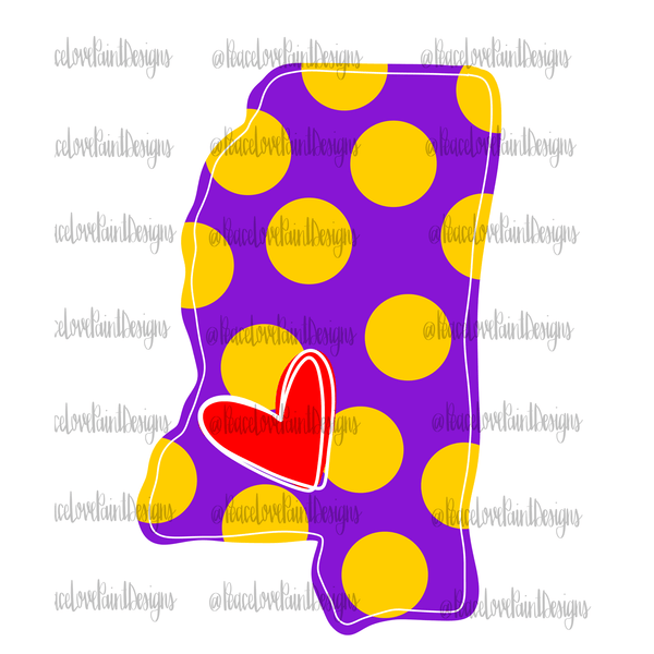 Mississippi Love Purple and Gold Hand Drawn Sublimation Design-Digital Download-Peace Love Paint Designs