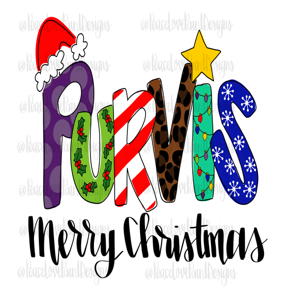 Purvis Christmas Letters Hand Drawn Sublimation Design