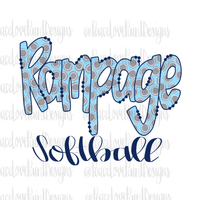 Rampage Softball Hand Drawn Sublimation Design-Digital Download-Peace Love Paint Designs