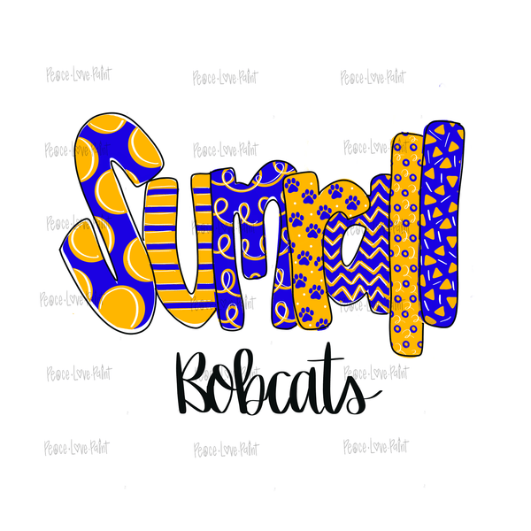 Sumrall Bobcats Mixed Pattern Hand Drawn Sublimation Design