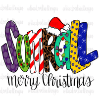 Sumrall Christmas Letters Hand Drawn Sublimation Design-Digital Download-Peace Love Paint Designs