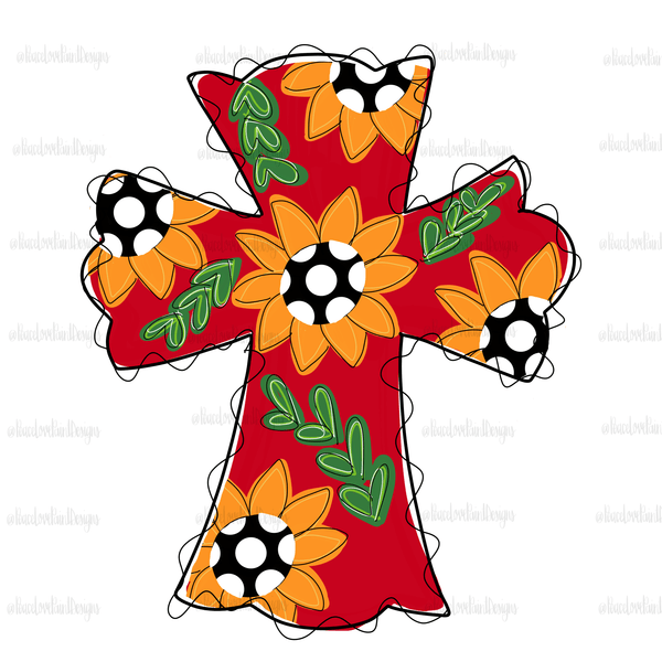 Sunflower Cross Sublimation Design! Perfect for Sublimation Printing and Sublimation T-shirts. Download the hand drawn PNG from Peace Love Paint Designs here.