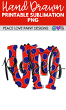 University of MS Rebels Hand Drawn Sublimation Design-Digital Download-Peace Love Paint Designs