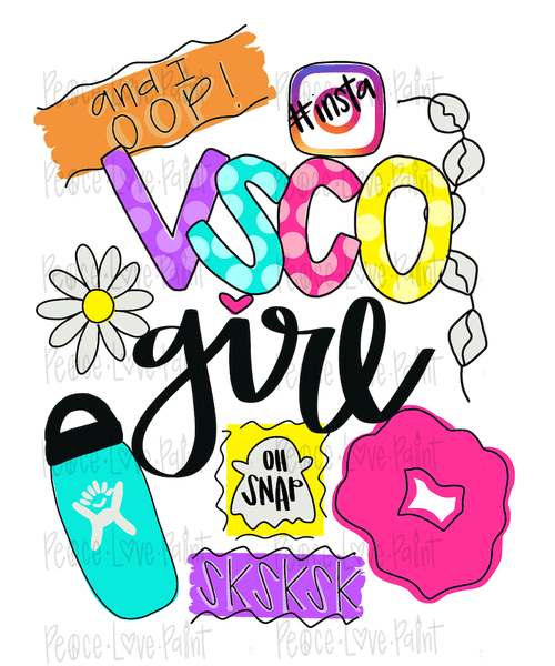 VSCO Girl Sublimation Design! Perfect for Sublimation Printing and Sublimation T-shirts. Download the hand drawn PNG from Peace Love Paint Designs here.