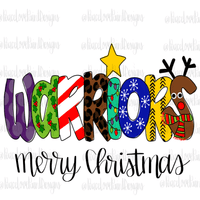 Warriors Christmas Letters Hand Drawn Sublimation Design-Digital Download-Peace Love Paint Designs
