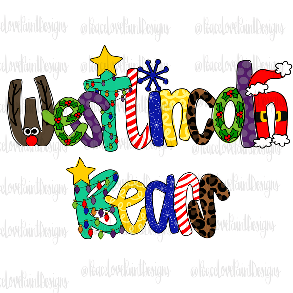 West Lincoln Bears Christmas Letters Hand Drawn Sublimation Design-Digital Download-Peace Love Paint Designs