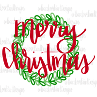 Merry Christmas Wreath Hand Drawn Sublimation Design-Digital Download-Peace Love Paint Designs
