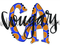 CA Cougars Polka Dot Letters Hand Drawn Sublimation Design-Digital Download-Peace Love Paint Designs