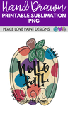 Polka Dot Pumpkin Hand Drawn Sublimation Design-Digital Download-Peace Love Paint Designs