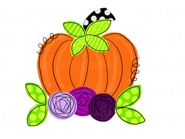 Funky Floral Pumpkin Hand Drawn Sublimation Transfer-Sublimation Transfer-Peace Love Paint Designs