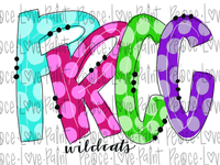 PRCC Wildcats Rainbow Letters Polka Dot Letters Hand Drawn Sublimation Design-Digital Download-Peace Love Paint Designs