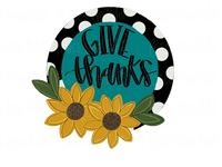 Give Thanks Polka Dot Floral Hand Drawn Sublimation Transfer-Sublimation Transfer-Peace Love Paint Designs