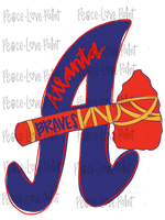 Atlanta Braves Hand Drawn Sublimation Transfer-Sublimation Transfer-Peace Love Paint Designs