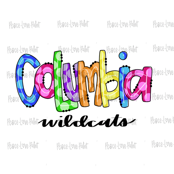 Columbia Wildcats Hand Drawn Sublimation Design-Digital Download-Peace Love Paint Designs