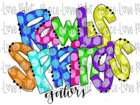 Rawls Springs Gators Rainbow Letters Polka Dot Letters Hand Drawn Sublimation Design-Digital Download-Peace Love Paint Designs