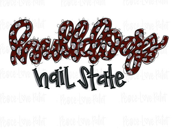 Bulldogs Hail State Leopard Sublimation Transfer-Sublimation Transfer-Peace Love Paint Designs