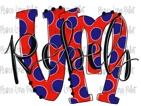 University of Mississippi Rebels Sublimation Design! Perfect for Sublimation Printing and Sublimation T-shirts. Download the hand drawn PNG from Peace Love Paint Designs here.