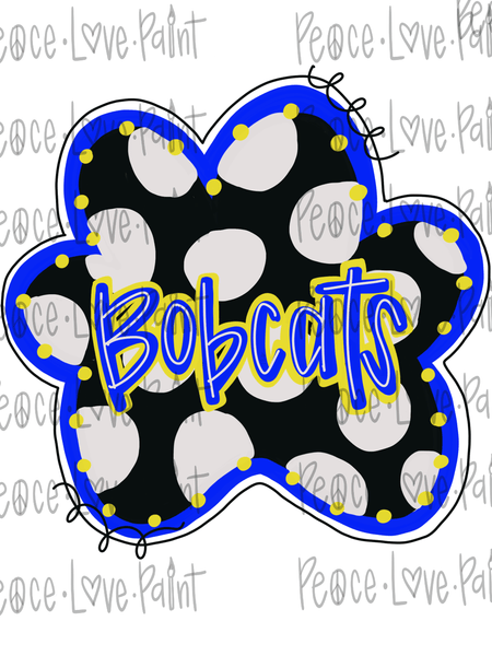 Polka Dot Bobcat Paw Hand Drawn Sublimation Design-Digital Download-Peace Love Paint Designs