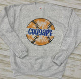 Youth Bobcats Tie Dye Baseball/Softball Tee