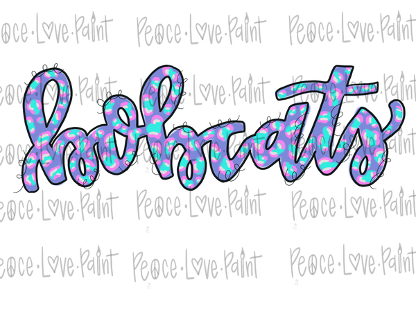 Bobcats Pastel Leopard Hand Drawn Sublimation Design-Digital Download-Peace Love Paint Designs