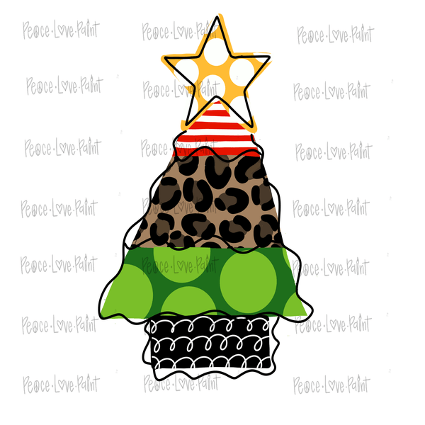 Funky Leopard Christmas Tree Hand Drawn Sublimation Transfer-Sublimation Transfer-Peace Love Paint Designs