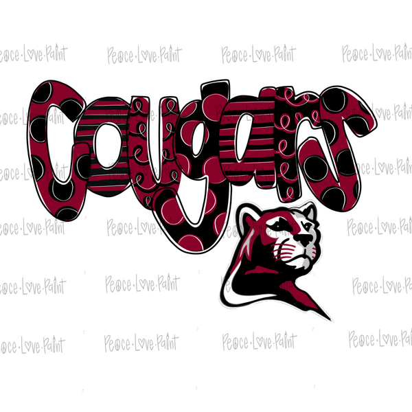 Red and Black Cougars Hand Drawn Sublimation Design-Peace Love Paint Designs