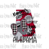 Alabama Sublimation Design! Perfect for Sublimation Printing and Sublimation T-shirts. Download the hand drawn PNG from Peace Love Paint Designs here.
