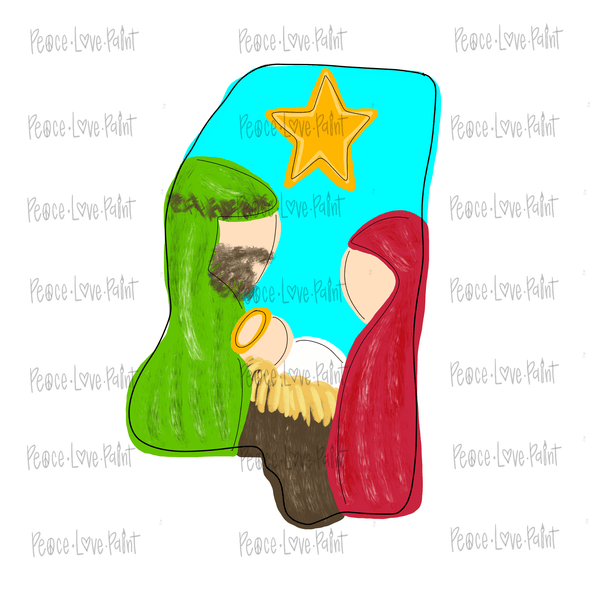 MS Nativity Hand Drawn Sublimation Design-Peace Love Paint Designs
