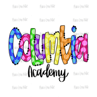 Columbia Academy Rainbow Polka Dot Letters Hand Drawn Sublimation Design-Digital Download-Peace Love Paint Designs