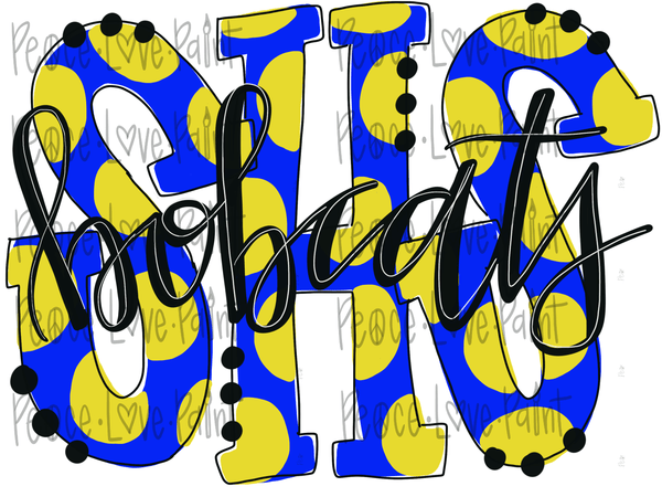 SHS Bobcats Polka Dot Letters Hand Drawn Sublimation Design-Digital Download-Peace Love Paint Designs