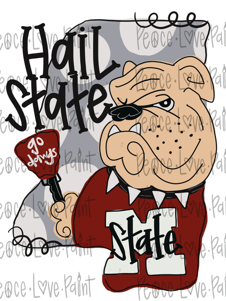 MS Hail State Bully Hand Drawn Sublimation Design-Digital Download-Peace Love Paint Designs