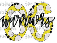 OG Warriors Polka Dot Letters Hand Drawn Sublimation Design-Digital Download-Peace Love Paint Designs