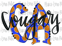 CA Cougars Polka Dot Letters Hand Drawn Sublimation Transfer-Sublimation Transfer-Peace Love Paint Designs