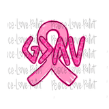 Breast Cancer Awareness Hand Drawn Sublimation Design-Digital Download-Peace Love Paint Designs