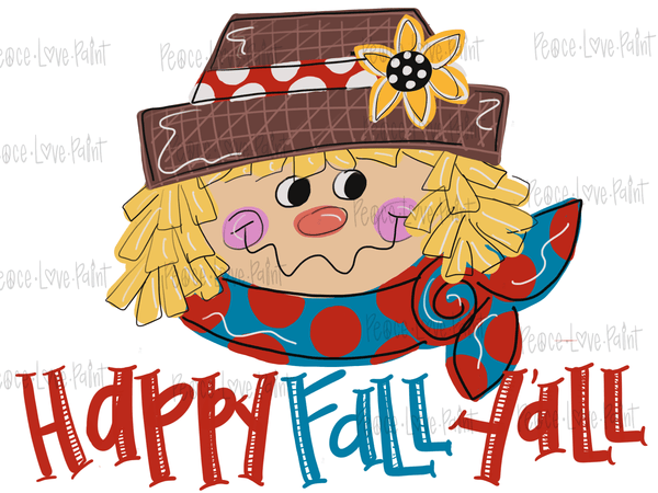 Happy Fall Ya'll Scarecrow Sublimation Design. Use this sublimation printable PNG for sublimation t-shirts or other sublimation design ideas!