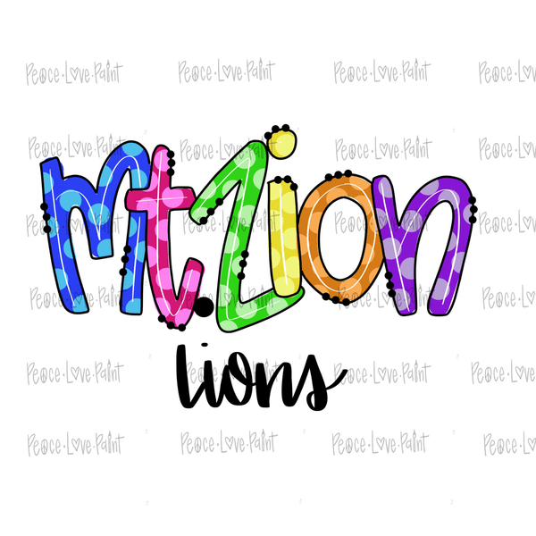 Mt Zion Lions Hand Drawn Sublimation Design-Peace Love Paint Designs