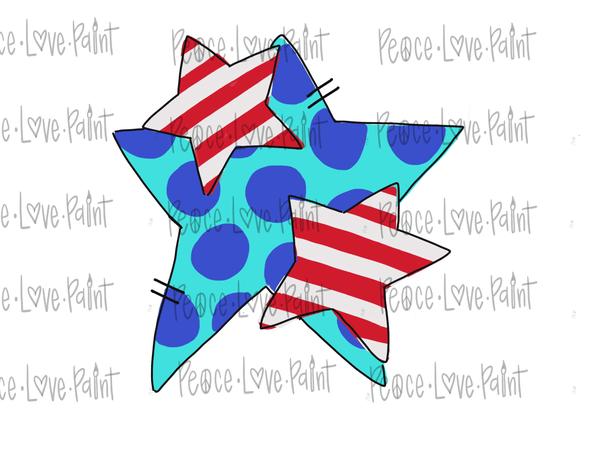 Stars and Stripes Hand Drawn Sublimation Design-Digital Download-Peace Love Paint Designs