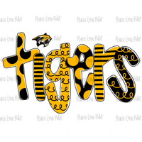 Tigers Black and Gold Hand Drawn Sublimation Design-Peace Love Paint Designs