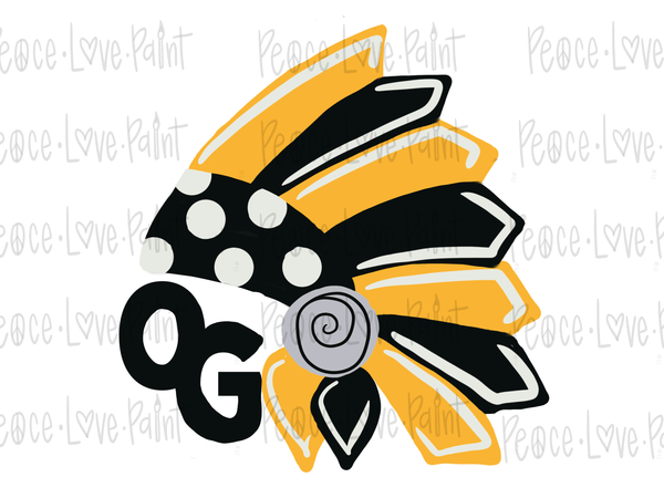 OG TRIBAL HEADDRESS Hand Drawn Sublimation Design / PNG Design / Digital Download / Digital Art / Hand Lettering-Digital Download-Peace Love Paint Designs