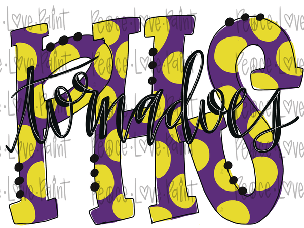 Purvis High School Tornadoes Polka Dot Letters Hand Drawn Sublimation Design