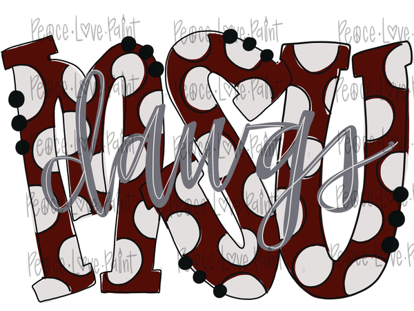 MSU Dawgs with Gray lettering Hand Drawn Sublimation Design-Digital Download-Peace Love Paint Designs