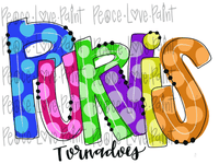 Purvis Tornadoes Rainbow Letters Polka Dot Letters Hand Drawn Sublimation Design-Digital Download-Peace Love Paint Designs