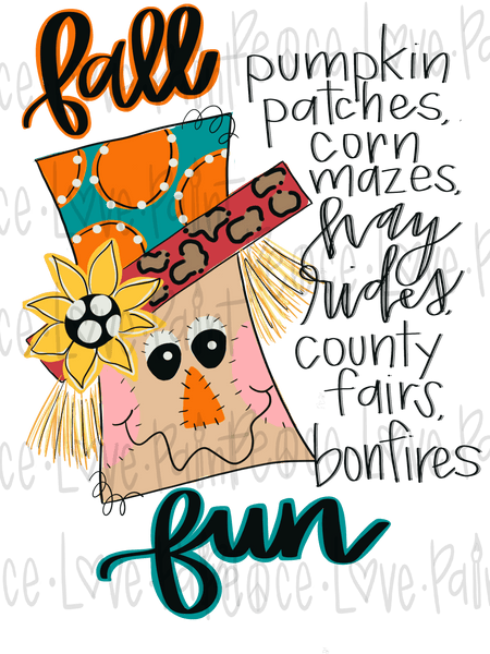 Fall Scarecrow Sublimation design for t-shirts, pillows, mugs, etc! Download this sublimation design from Peace Love Paint Designs for your next sublimation t-shirt design, sublimation project or sublimation ideas!