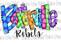 Baxterville Rebels Rainbow Polka Dot Letters Hand Drawn Sublimation Design-Digital Download-Peace Love Paint Designs