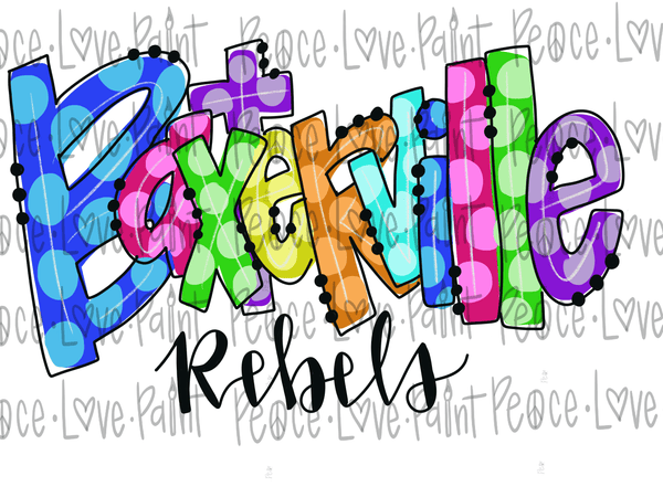 Baxterville Rebels Rainbow Polka Dot Letters Hand Drawn Sublimation Design