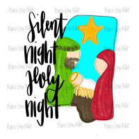 Silent Night Holy Night MS Christmas Nativity Hand Drawn Sublimation Design-Peace Love Paint Designs