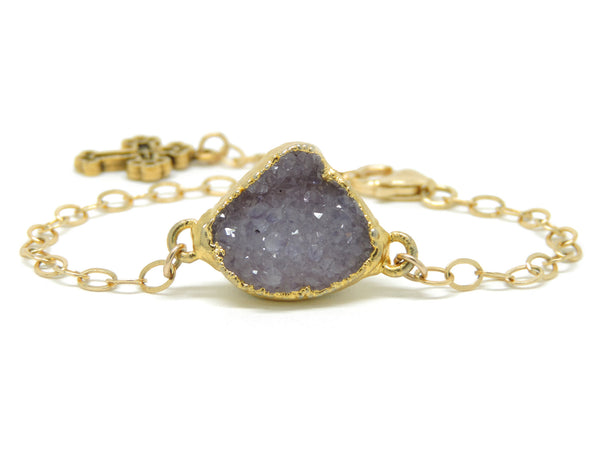 Lavender Druzy - Medium Gold Rolo Link Chain & Cross Charm