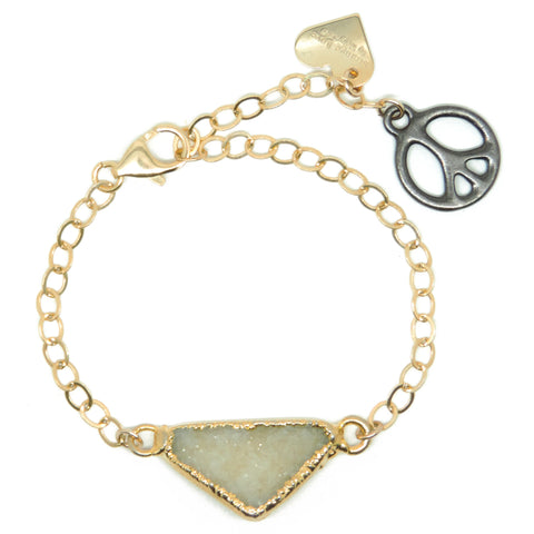 Ivory Druzy - Medium Gold Rolo Link Chain & Peace Charm
