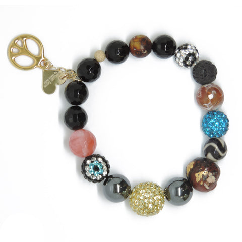 Big Buddah Bead - Eclectic Love & Peace Sign Charm