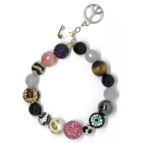 Big Pink Bling - Eclectic Love & Peace Sign Charm
